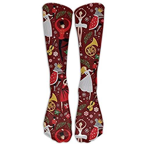 hfdff NEUE Nussknacker Stoff Clara S Nussknacker Ballett Rot Med Athletic Tube Strümpfe Damen Herren Classics Kniestrümpfe Sport Lange Socke 19.68 inch (50cm)