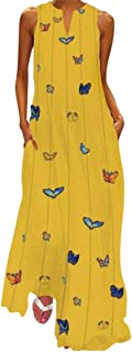 Dubocu Women Maxi Dress Sleeveless V Neck Vintage Print Summer Loose Swing Casual Party Evening Gown Beach Dress With Pockets(L,Yellow)