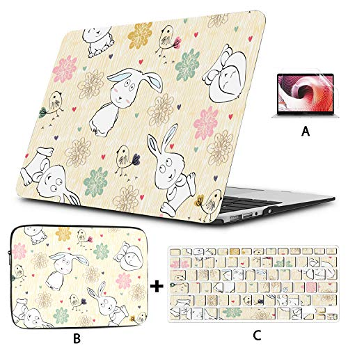 13 In Laptop Case Bunny Cute Child Rabbit With Flowers Macbook Pro Case 15 Hard Shell Mac Air 11'/13' Pro 13'/15'/16' With Notebook Sleeve Bag For Macbook 2008-2020 Version