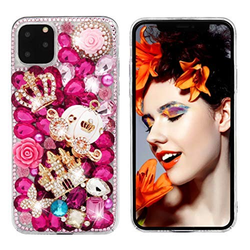 iPhone 11 Pro Max Case, Mavis's Diary 3D Handmade Luxury Bling Crystal Golden Castle White Pumpkin Carriage Pink Shiny Diamonds Glitter Rhinestones Gems Clear Hard PC Cover for iPhone 11 Pro Max