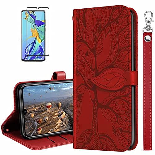 MUTOUREN Handyhülle Kompatibel mit Xiaomi Redmi Note 10 Pro/Note 10 Pro Max Hülle PU Leder Schutzhülle Brieftasche Flip Wallet Hülle Magnetverschluss Cover mit 1* Bildschirmschutzfolie - Rot