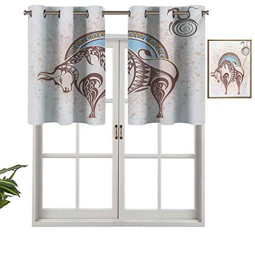 Hiiiman Cortinas opacas con ojales, icono de Taurus con figura de toro en diseño gráfico de predicción grungy, juego de 1, 132 x 45 cm para sala de estar, dormitorio, decoración del hogar