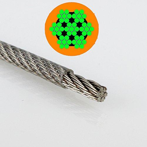 20 Meter PVC-Drahtseil 7X7 mittelweich - 1,25 / 2 mm transparent, Edelstahl A4