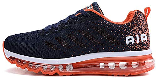 tqgold Sportschuhe Herren Damen Laufschuhe Turnschuhe Sneakers Leichte Schuhe (Dunkelblau Orange,39 Größe)