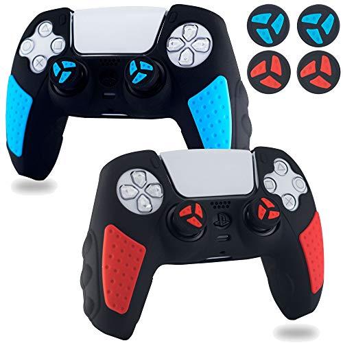 BRHE PS5 Controller Skin Anti-Rutsch Silikon Grip Cover Protector Rubber Case Zubehör Set für Playstation 5 Gamepad Joystick mit 2 Daumengriffkappen (Rot & Blau)