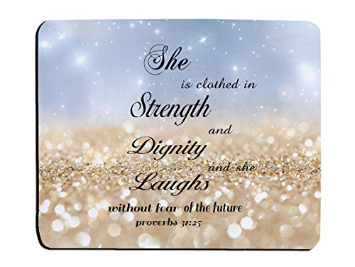Christian Quotes Mouse Pad Rainbow Glitter Bible Verse proverbs 31:25 She is Clothed in Strength And Dignity And She Laughs Without Fear Of the Future Rectangle Non-Slip Rubber Mouse pads