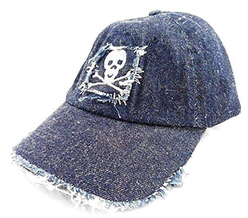 Wasserfarm écran de Bonnet Homme Jeans pour Femme Casquette D. Bleu Toutes Les Tailles usé Style Motif tête de Mort Skull Theme D. Blue 3926