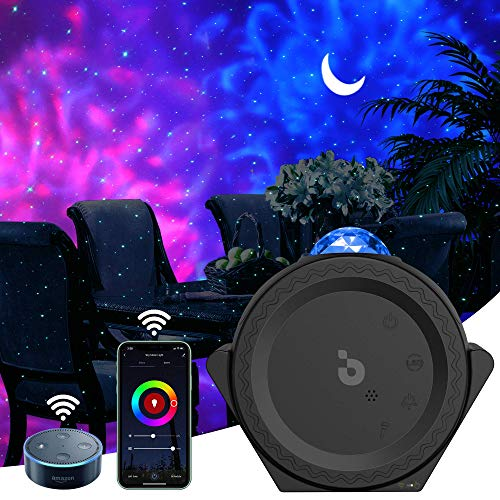 Star Projector, 3-1 LED Smart Night Light Projector Moon Lamp with Smart App & Timer & Voice Control, Multi Lighting Effects Galaxy Projector for Kids/Game Rooms/Home Theatre/Room Decor (Black)