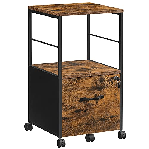 VASAGLE Filing Cabinet for Home Office, Rolling File Cabinet with Drawer, for Suspended Folder, A4 and Letter Sized Documents, Printer Stand with Casters, Industrial, Rustic Brown and Black UOFC044B01