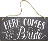 Primitives by Kathy 26915 Chalk Art Wedding Hanging Sign, 12 x 6-Inches, Here Comes the Bride