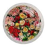 Paquete de 4 pomos para gabinetes de cocina, armarios, aparadores, armarios, roperos, naturaleza romántica, rosa, rojo, rosa