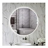 YSJX Espejo de Baño Redondo de LED Iluminado,Espejo de Vanidad de Baño Retroiluminado,Espejo de Pared IP44...