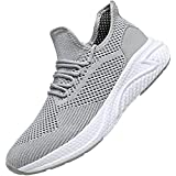 WsDebutting Men's Running Shoes Fashion Lightweight Breathable Mesh Soft Sole Athletic Sneakers for Young Men Gray Size 11