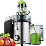 Juicer AICOK 75MM Wide Mouth Juicer Machines Whole Fruit and Vegetable Easy Clean, 800W Quick Juicing, Dual Speed Setting and Anti-drip Spout, Stainless Steel Centrifugal Juicer, Silver