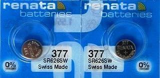 2 Renata 377 SR626SW Silver Oxide Zero Mercury Electronic Batteries