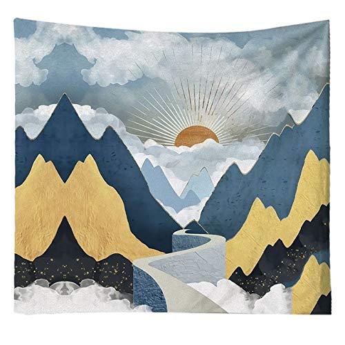 Multi-gekleurde wandtapijten hippie mandala muur opknoping polyester reizen camping zonsopgang psychedelisch tafelkleed slaapdeken, zwart, 100cm * 100cm