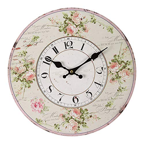 Vintage-Home Orologio da Parete Orologio da Cucina Stile Nostalgico Rose Orologio Ø 28cm Antikuhr Shabby 84688