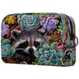 Raccoon - Bolsa de cosméticos para maquillaje, organizador de viaje portátil, neceser para niñas, mujeres