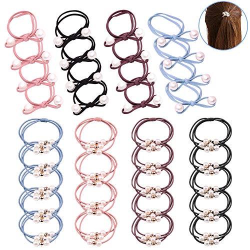 YuCool Haargummi mit Perlen, Gummibänder, elastisch, mit 12 Schleifen, 32 Stück insgesamt.