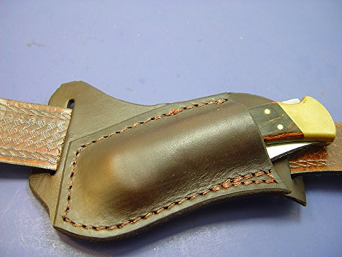 Custom Leather Left Hand Cross Draw Pocket Knife Sheath For a Buck 110 OR 112