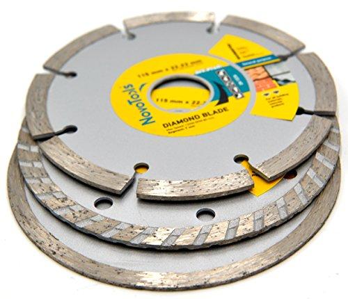 NOVOTOOLS Diamantscheibe 115 mm, 125 mm, 230 mm, 300 mm – Trennscheibe für Beton, Stein, Ziegel, Lintels, Granit, Naturstein Hochwertig, 115 mm (Set 3 pcs), 1