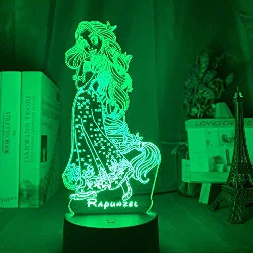 Boutiquespace Lámpara de ilusión 3D LED noche luz óptica niñas rapunzel figura para niños decoración de la habitación lámpara de escritorio Tang regalo niños sueño lámpara habitación decoración