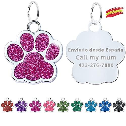 FUSIYU Placa Chapa Medalla, Etiquetas de Identificación de Mascotas Etiquetas de Perro Personalizada Grabado para Collar Perro Gato Mascota Grabada Brillantitos Aleación de Zinc, Pata Plata,Rosa Roja