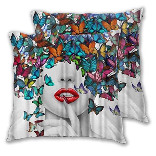 MOBEITI Juego de 2 Decorativo Funda de Cojín Chica Sexy con Mariposa Funda de Almohada Cuadrado para Sofá Cama Decoración para Hogar,60x60cm