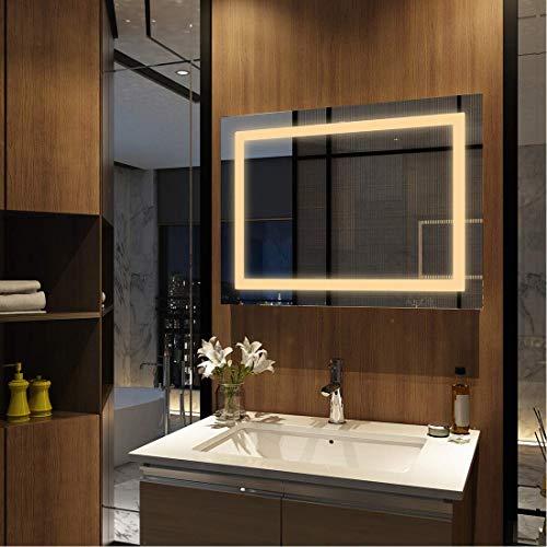 MeyWeb Wandspiegel, badkamerspiegel, LED-badkamerspiegel met verlichting, spiegelkast, wandkast met multifunctioneel, 3000-6400K 80x60cm model 5