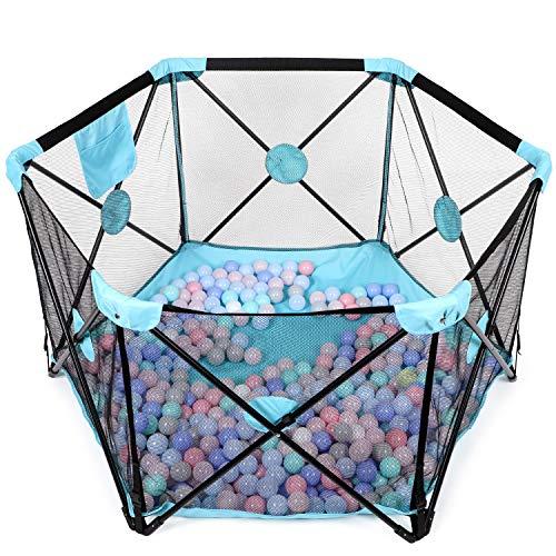 Baby Laufstall, Laufgitter, Kleinkind 6-eckig Krappelgitter mit atmungsaktivem Netz, Faltbar und Tragbar für drinnen und draußen (schwarzblau)