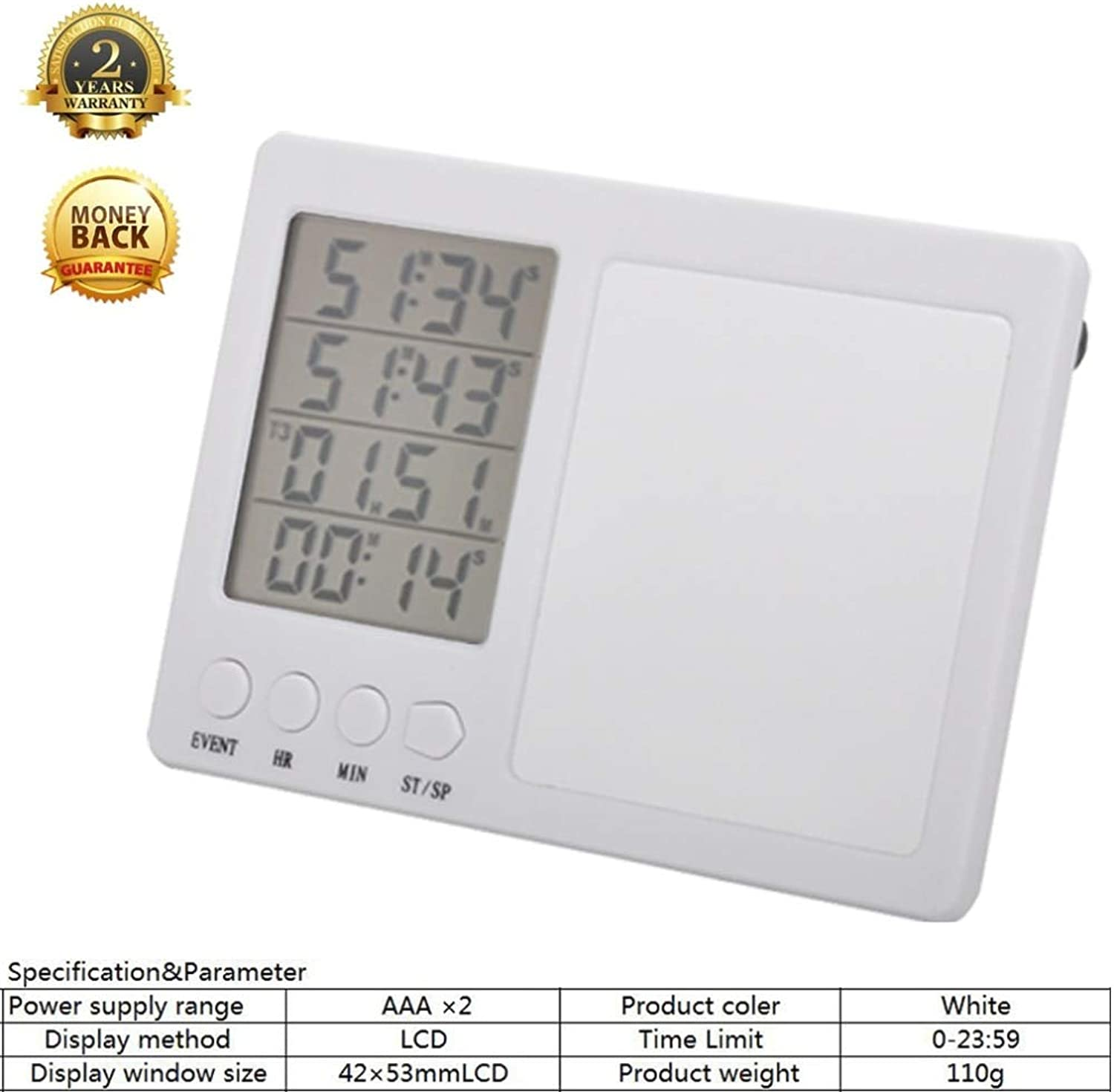 Cooking Timer Kitchen Digital Timer Loud Alarm Timer simultaneously Recording 4 Events Kitchen Timer, Magnet, Stand   White