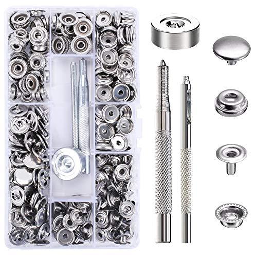 AILANDA 300 Pezzi Bottoni a Pressione Metallo Automatici Vite 15mm Snap Button con Kit di Attrezzi d'Installazione per Pelle/PU/Tende/Tessuti di Jeans/Decorazioni Fai da Te/Artigianato
