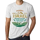 One in the City Hombre Camiseta Vintage T-Shirt Gráfico Israel Mountain Explorer Blanco Moteado