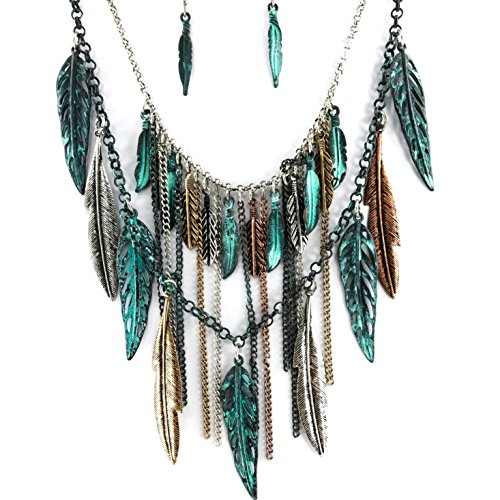 Western Peak Bohemian Tritone Tassels Metal Feathers Necklace with Earrings (Patina)