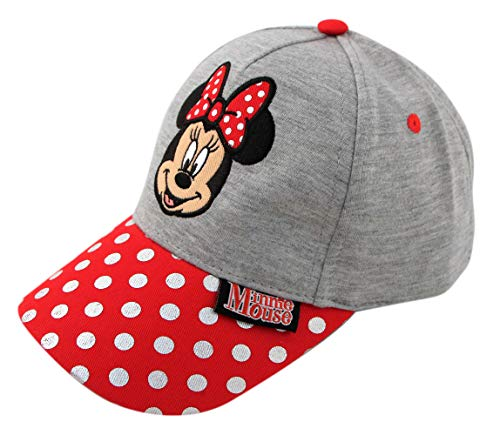 Disney Toddler Girls' Minnie Mouse Heather Jersey Baseball Cap, Gray/Red, Ages 2-4