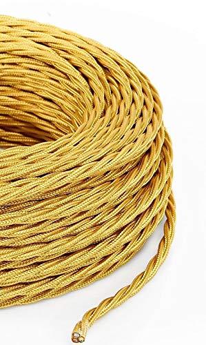 Cavo Elettrico Treccia/Trecciato Rivestito in Tessuto. Colore Oro. Sezione 2x0.75 (5 Metri)