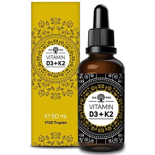 DiaPro® Vitamin D3 + K2 Tropfen 50ml - 1.700 Tropfen pro Flasche hoch bioverfügbares D3 (1.000 I.E.) und all-trans Vitamin K2 Laborgeprüft flüssig hochdosiert
