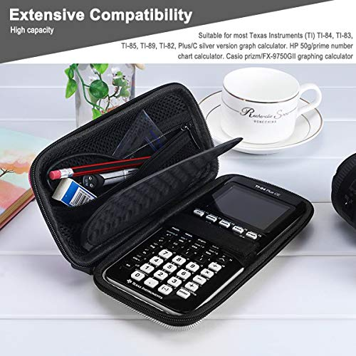 Xberstar Hard EVA Shockproof Carry Case Bag Pouch for Texas Instruments TI-84 Plus CE/Color TI-83 Plus,TI-89 Titanium, HP 50G Graphing, Scientific Financial Calculators (Gray) Photo #3