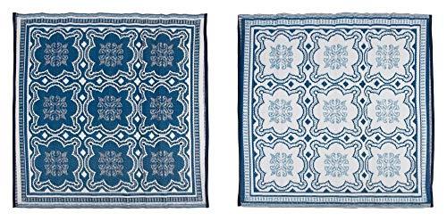 Esschert Design Tapis d'extérieur 151,5 cm Bleu et Blanc OC23