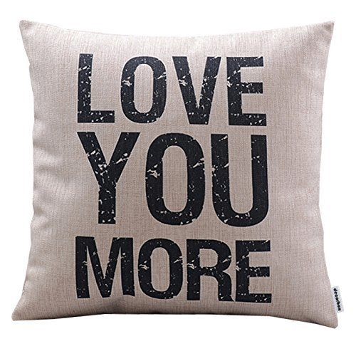 Decorbox Cotton Linen Decorative Pillowcase Throw Pillow Cushion Cover Love You More Square 18