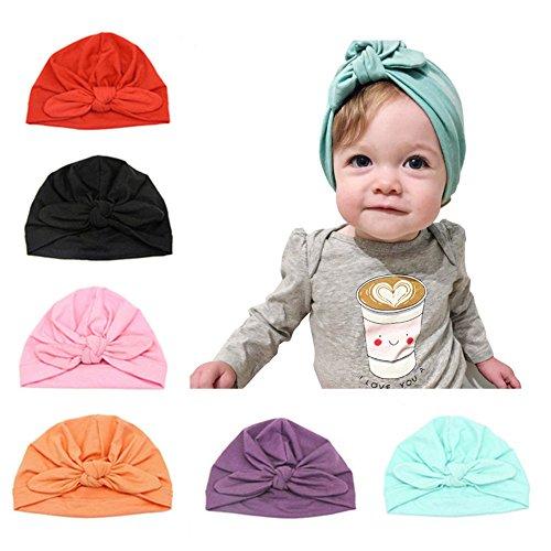 Baby Hat 6 pezzi neonato, 100% cotone morbido, elastico avvolgere la testa avvolgere infantile turbante bambino neonato ragazza fascia