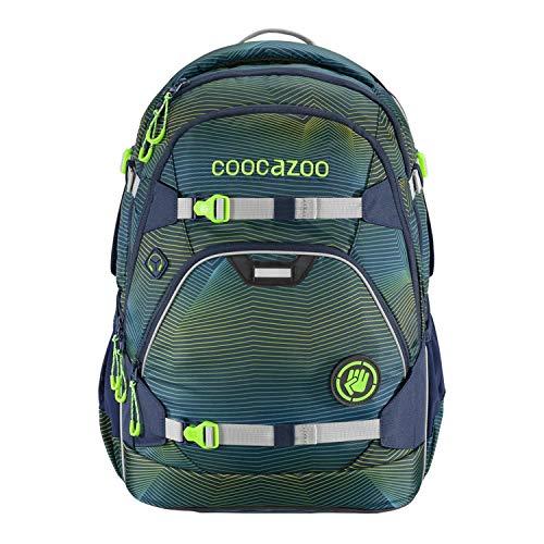 coocazoo Schulrucksack ScaleRale Soniclights Green blau-grün, ergonomischer Tornister, höhenverstellbar mit Brustgurt und Hüftgurt für Jungen 5. Klasse, 30 Liter