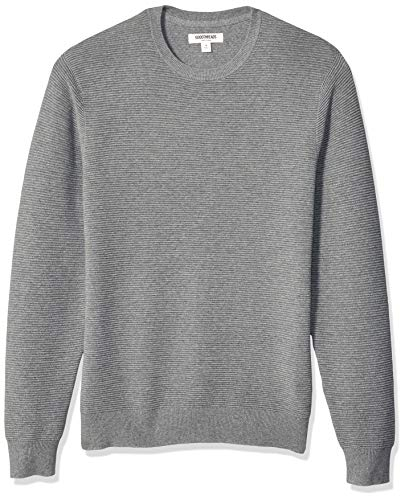 Amazon Brand - Goodthreads Men's Soft Cotton Ottoman Stitch Crewneck Sweater, Heather Grey, Medium
