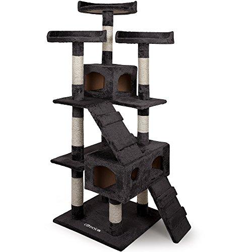 Deuba CADOCA® Katzenkratzbaum 175 cm I Stabiler Kratzbaum I 3 Aussichtsplätze 2 Höhlen I Katzenbaum Katze I - Grau -