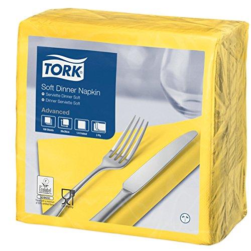 Tork 477911 - Servilletas blandas, 3 capas, pliegue 1/4, 39 cm de longitud, 100 unidades