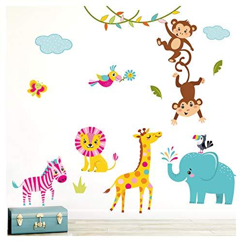 Little Deco Wandaufkleber Kinderzimmer Mädchen Dschungeltiere I 2 A4 Bögen I Wandtattoo Wandsticker Babyzimmer Elefant Tiere Dschungel Affen DL214-1