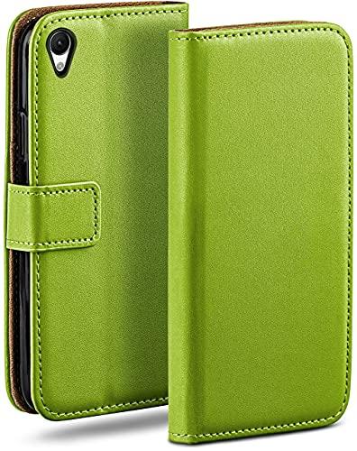 moex Klapphülle kompatibel mit Sony Xperia M4 Aqua Hülle klappbar, Handyhülle mit Kartenfach, 360 Grad Flip Hülle, Vegan Leder Handytasche, Grün