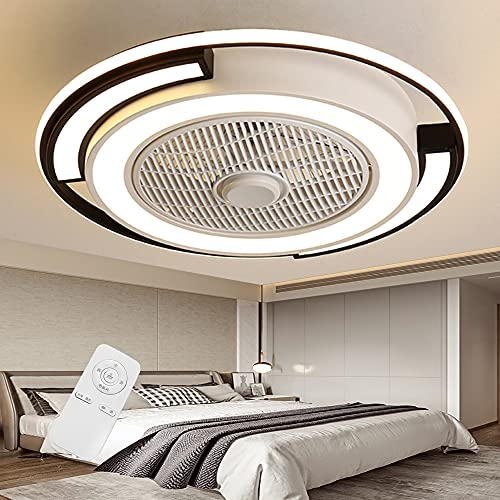 Ventilador de techo con iluminación con control remoto Velocidad del viento ajustable y temperatura de color Regulable LED moderno Luz de techo Dormitorio Sala de estar Comedor Lámpara