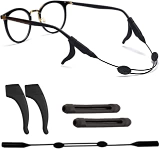 VSuRing メガネ ストラップ 調整可能 耳フック メガネずれ落ち防止 シリコン製 耳が痛くない スポーツメガネバンド 眼鏡ロック メガネ固定 メガネチェーン スポーツ 作業用 大人・子供 男女兼用 黒 3種類セット