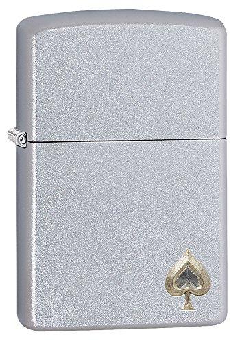 Zippo ACE of Spade Design Feuerzeug, Messing, Chrom, 5.5 x 3.5 x 1 cm